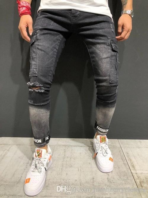 Yüksek kaliteli pantolon Moda Jeans Erkek Giyim Büyük Cepler Slim Fit Kalem Pantolon Uzun Pantolon Ripped