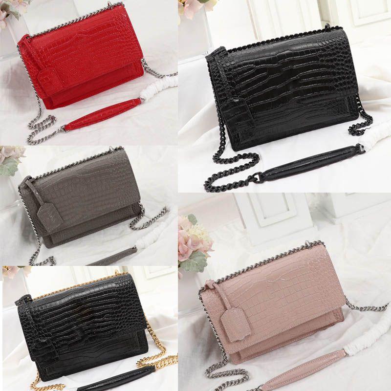 높은 품질 럭셔리 핸드백 지갑 악어 스타일 플랩 가방 일몰 체인 지갑 여성 체인 어깨 가방 패션 디자이너 크로스 바디 가방