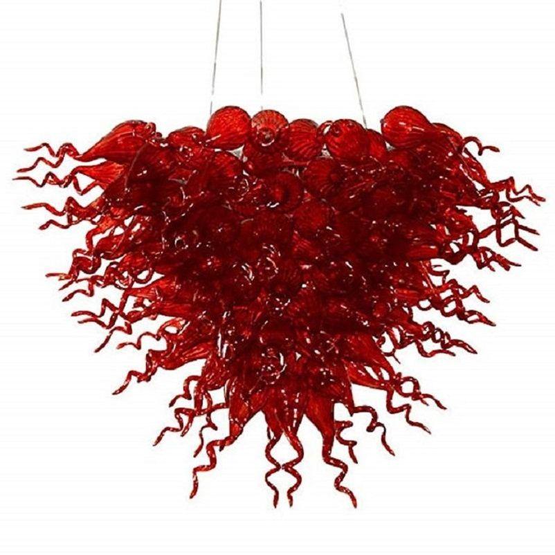 Moderne gebrannter Glasleuchter Italien Gestaltet Hand Blown Rot Glas Pendelleuchten Blume Design Antike hängende Schlafzimmer Rot Leuchter-Lampe