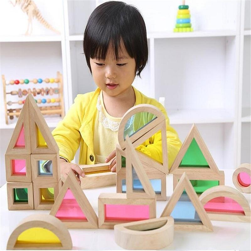 Montessori blocos de construção de arco-íris de madeira 24 pcs brinquedos para crianças 6 forma 4 cores translúcidas brinquedo oyuncak brinquedos 47 y190606