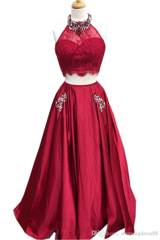 Lovely Burgundy Evening Gowns Long With Pockets Two Pieces Crystal Beading Prom Formal Dresses Bridesmaids Evening Wear Party Dress Cheap