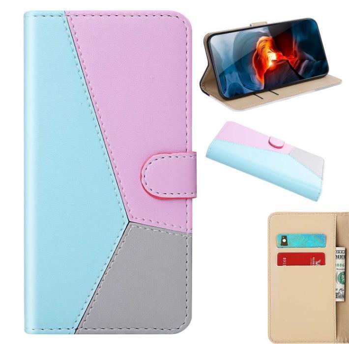 Colorblock elegante simplicidade clamshell couro caso bolsa de estilo modelos femininos despedaça-resistente proteção caso do telefone móvel