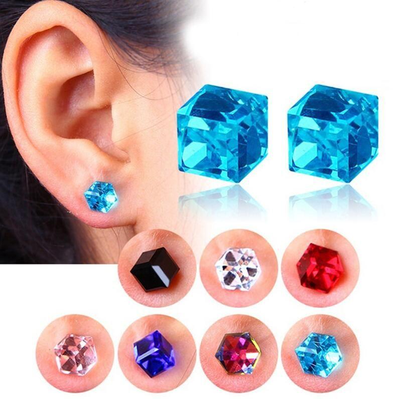 Кристалл магнитные серьги воды куб здоровья Магнит красочные Кристалл не пирсинг серьги для женщин ювелирные изделия 9 цветов подарок бесплатная доставка