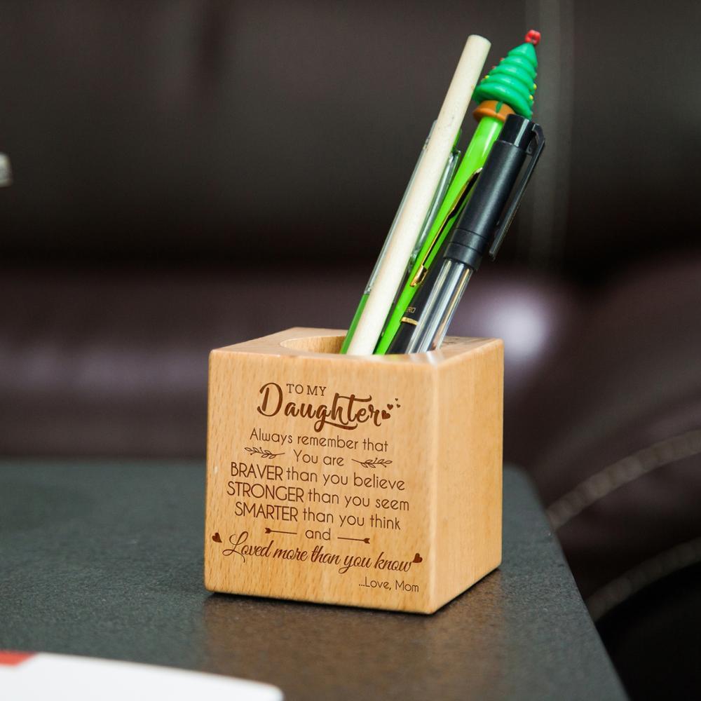 딸 조각 다기능 크리 에이 티브 나무 만든 책상 편지지 주최자 펜 연필 홀더 스토리지 박스 케이스 광장