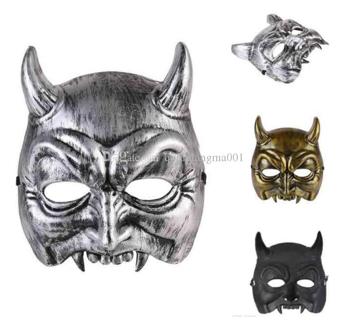 Halloween demon half face mask party performance mask masquerade funny party atmosphere props hot sale