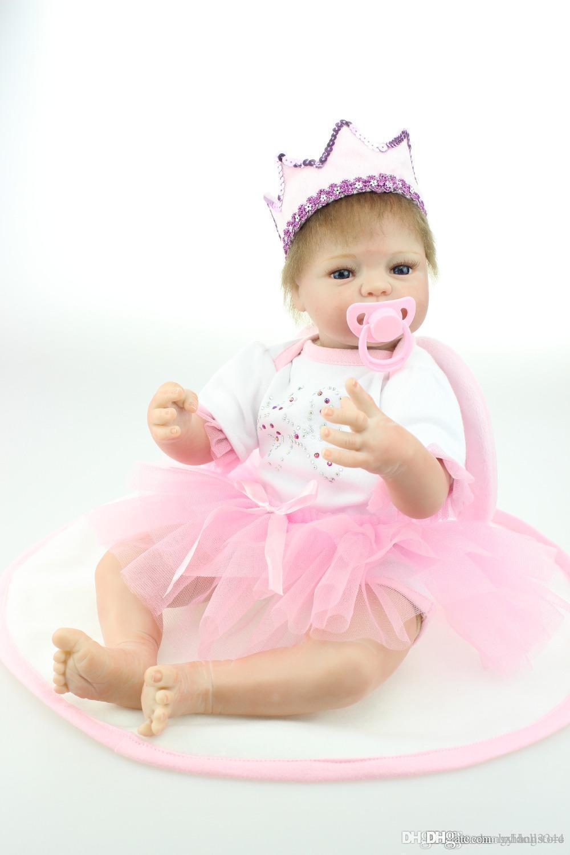 кукла 22 дюймов возродиться куколкой реалистичной мягким силикона винилового реального нежного прикосновения