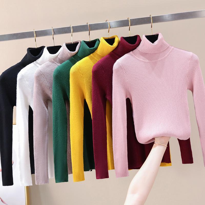 Na venda 2019 Outono Inverno Mulheres malha camisola de gola alta Casual Suave -Pescoço Jumper Moda slim Femme Elasticidade Pullovers