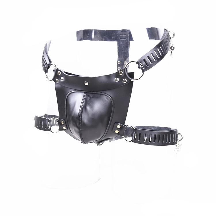 Dispositivo de castidad masculina Cinturón Bragas Ropa interior Bloqueo del pene Cintura y muslo ajustables Juguetes sexuales para hombres Cuero real negro