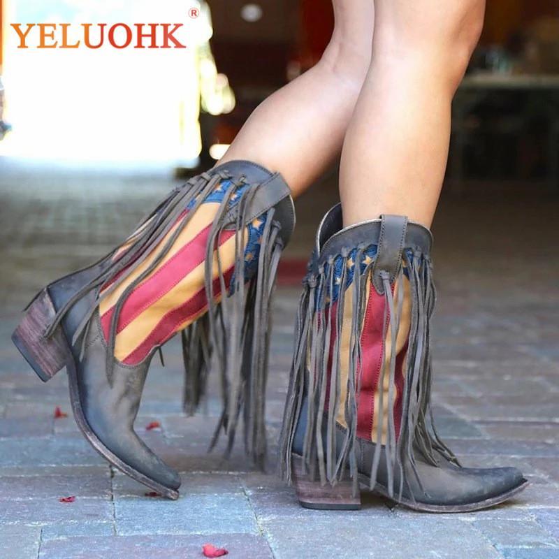 Женщины короткие сапоги острым носом обувь с длинными кистями льняные сапоги трубки квадратный каблук Обувь