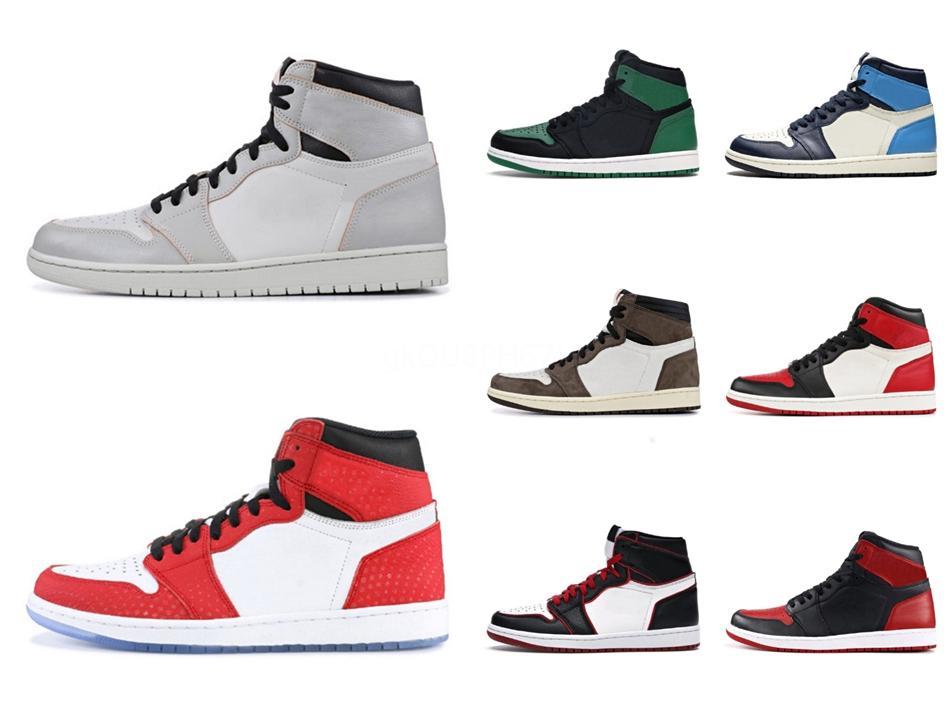 2020 Новое прибытие обувь Jumpman 1 High Blue Moon Mens Basketball для 1S Дизайнерские тренеров Обучение Спорт Кроссовки Обувь Синий Размер Toes # QA359