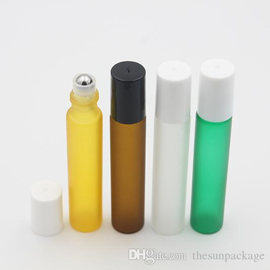 10ML ماتي زجاج زجاجة عطر لفة على زجاجة العنبر للعطور من الضروري النفط الفولاذ المقاوم للصدأ الأسطوانة الكرة