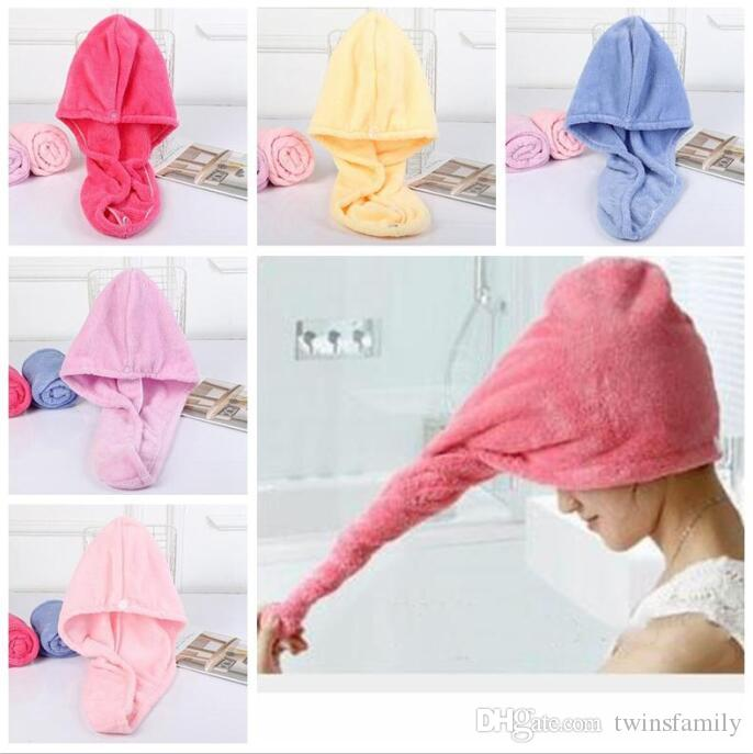Douche Caps magique rapide cheveux secs serviette en microfibre solide Superfine séchage Turban Head Wrap Hat Caps Spa Salle de bain Casquettes Baignade Outils D32