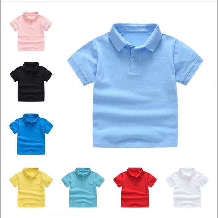 Детская одежда Для мальчиков Футболки для младенцев Летние топы Рубашки поло Primary девушки Uniform малышей с коротким рукавом Tees Мода Классический Детская одежда B4428