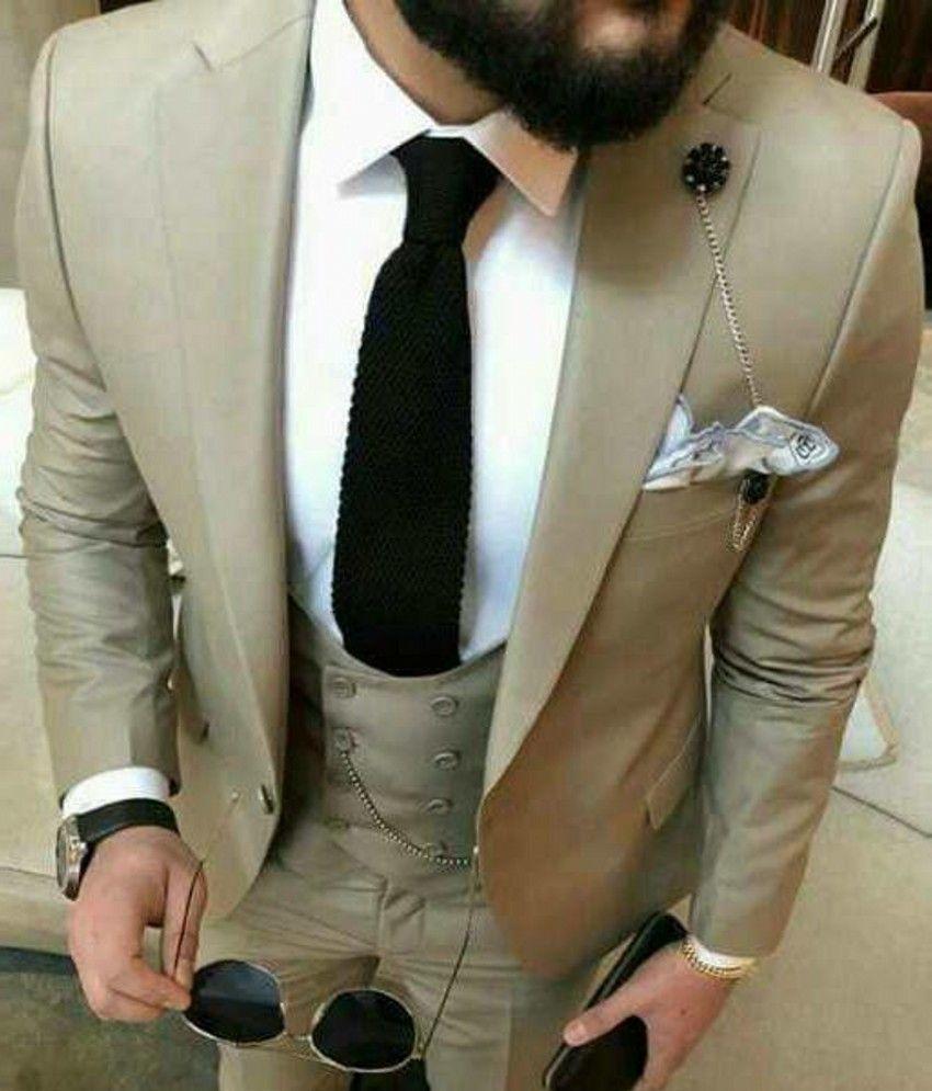 Slim Fit Khaki Grey Groom Tuxedos Notch Lapel Mens Wedding Tuxedos Man Jacket Blazer Popular 3 Piece Suit (Jacket + Pants + Vest + Tie) 283
