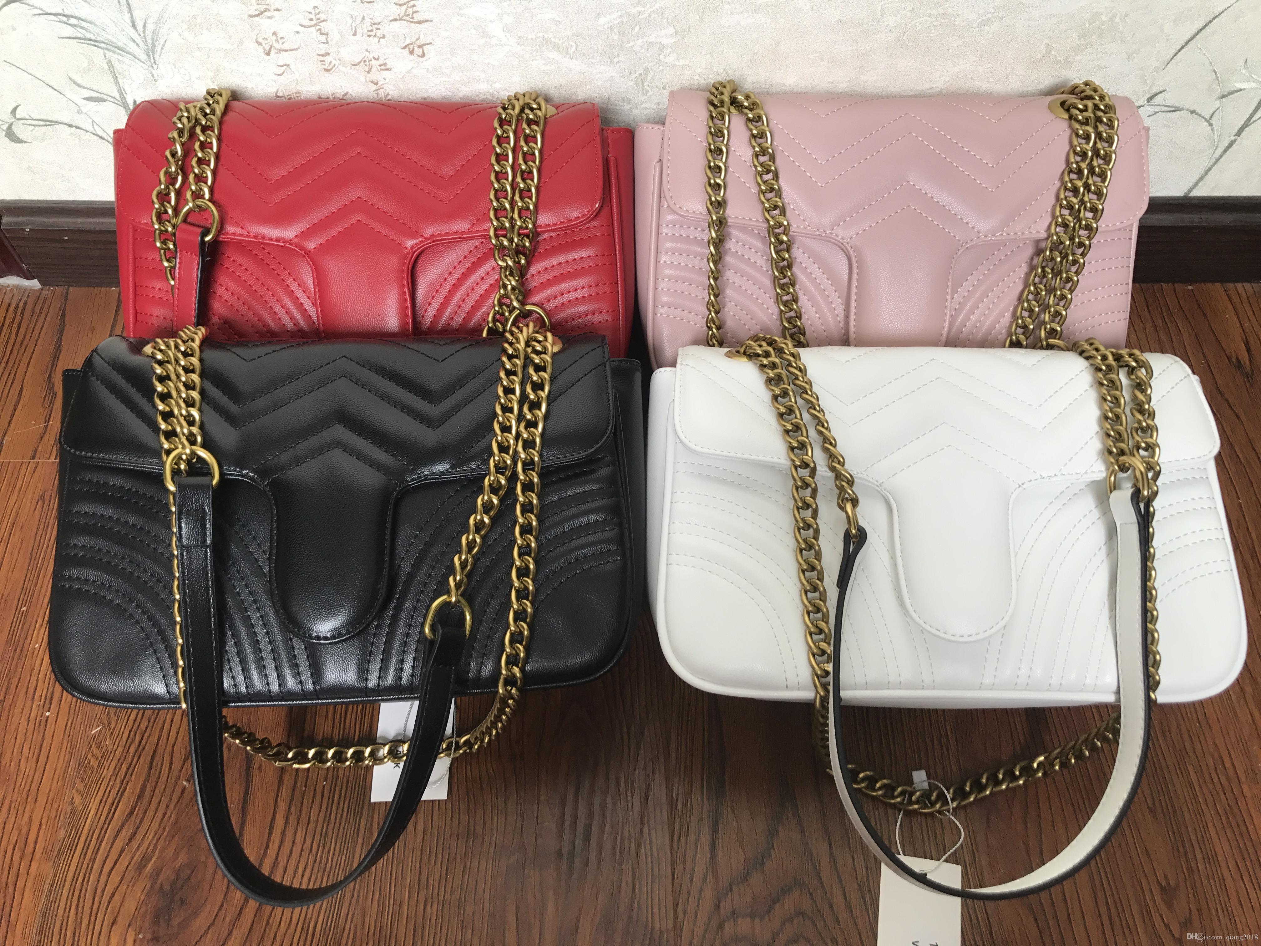 Moda Mujeres Bolsos de hombro Cuero Classic Heart Style Gold Cadena New Women Bag Bols Bags Messenger Bolsos