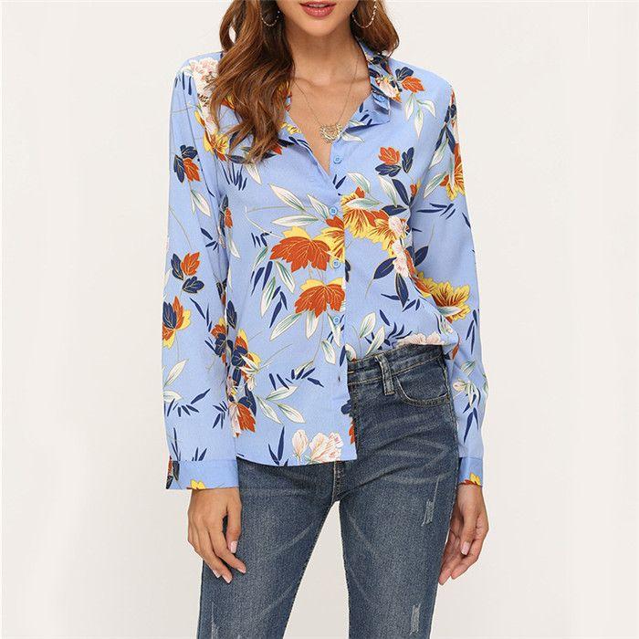Shirt Donna floreale impianto Chiffon Camicie Donna Autunno Moda risvolto del manicotto lungo Loose Women vestiti casuali