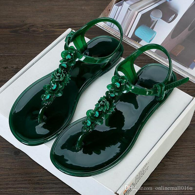 Femmes sandales d'été femmes sandales plates fleur décor femmes plage chaussures de gelée antidérapantes tongs de vacances