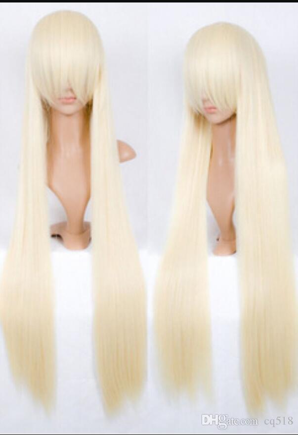 PELUCA envío de las mujeres cosplay peluca larga recta pelucas de pelo liso rubio animado de la peluca