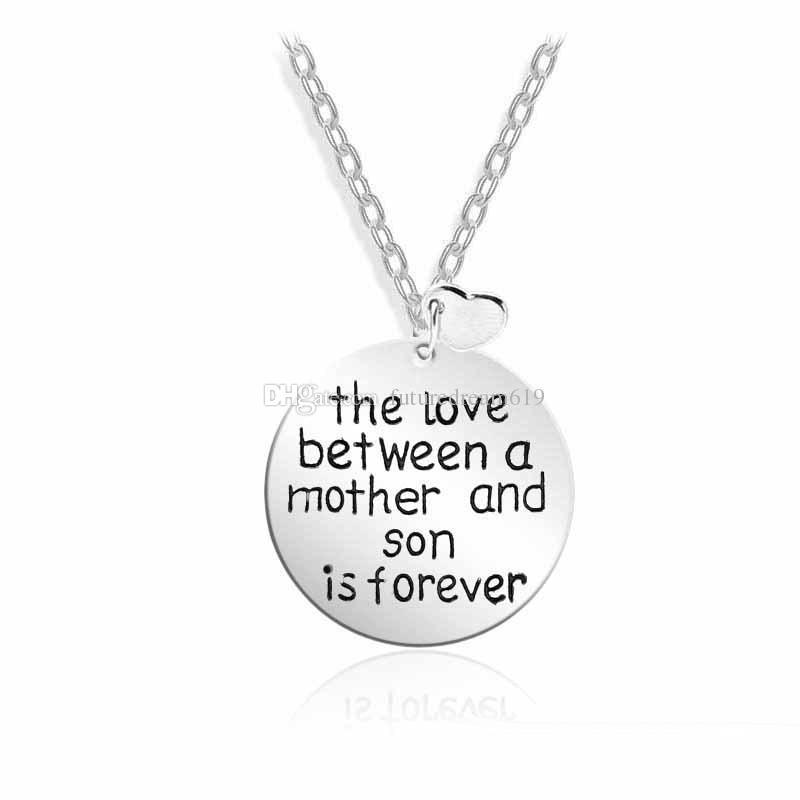 El amor entre una madre y un hijo Alfabeto corazón Collares pendientes Regalo del día de madres Joyería Envío gratis
