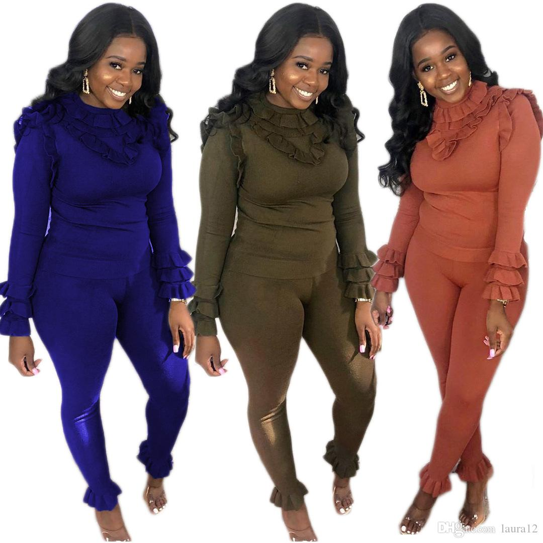 2020 Fashion Ruffles Women Two Pieces Outfits Spring Long Sleeves O Neck Lady T Shirt New Arrivals Nightclub Sports Skinny Pants Sets