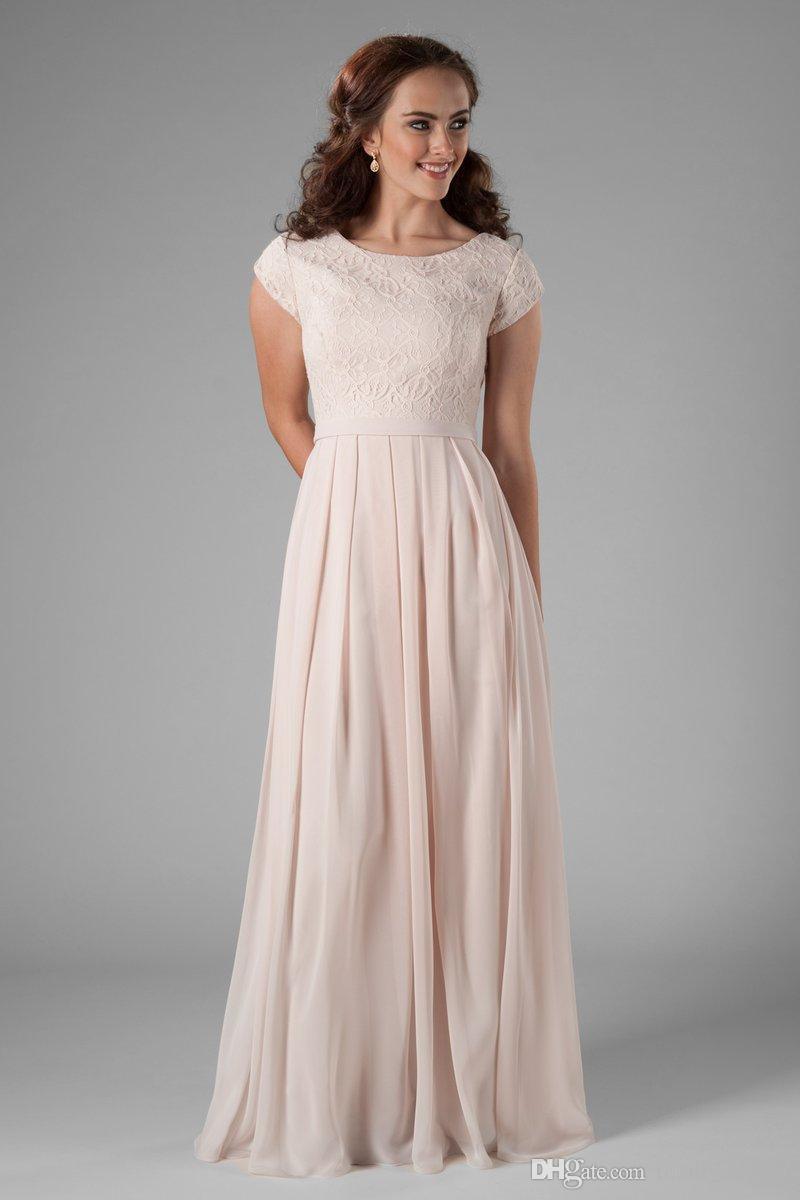 2019 champagne encaje gasa vestidos de dama de honor largo modesto con mangas casquillo O cuello de las mujeres templo modesto vestido de fiesta de boda por encargo