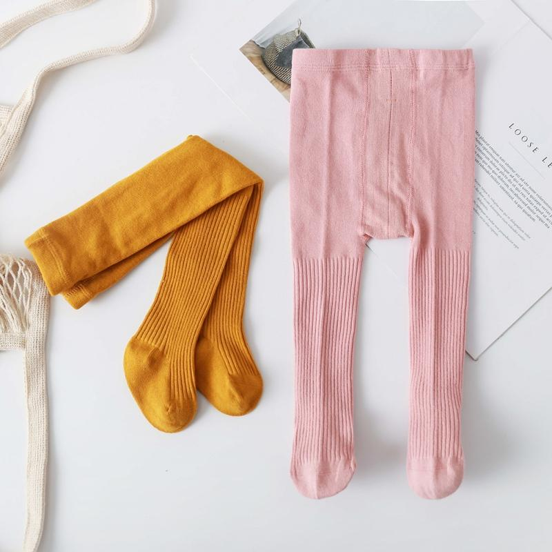 Cotton Long Trouser Autumn Toddler Baby Girls Soft Pants Leggings Socks Children Cute Stretchy Solid Print Trousers Bottoms