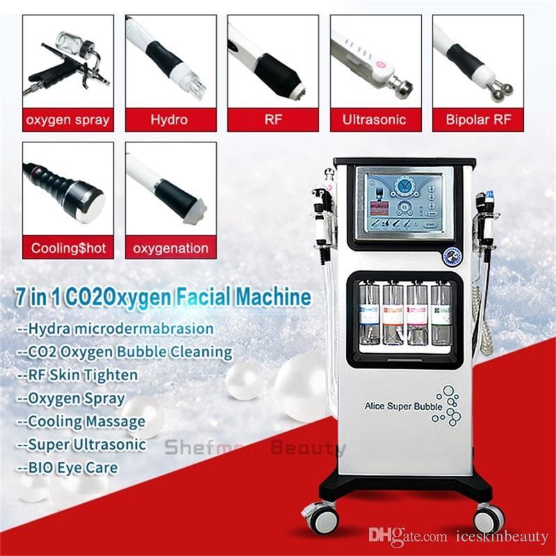 هيدرا جلدي الوجه الجلد التنظيف العميق الأكسجين بندقية رش RF بالموجات فوق الصوتية الجلد CO2 تجديد شد الوجه الوجه آلة صالون استخدام