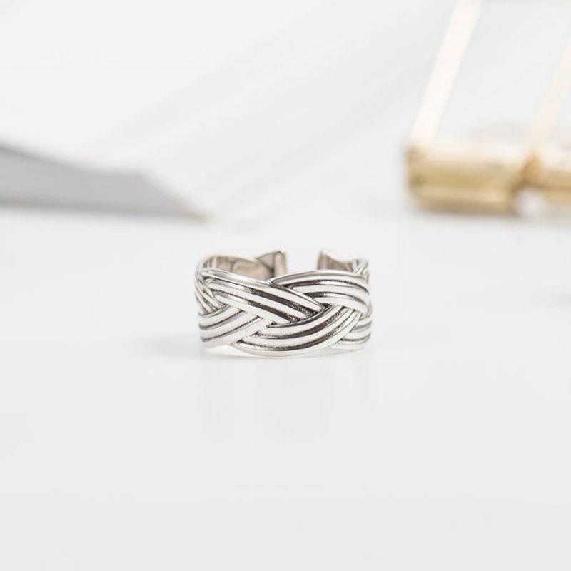 Vintage Twist Offene Ringe für Frauen 100% Echtes 925 Sterling Silber Fingerring Hochwertige Edlen Schmuck Geschenke YMR302