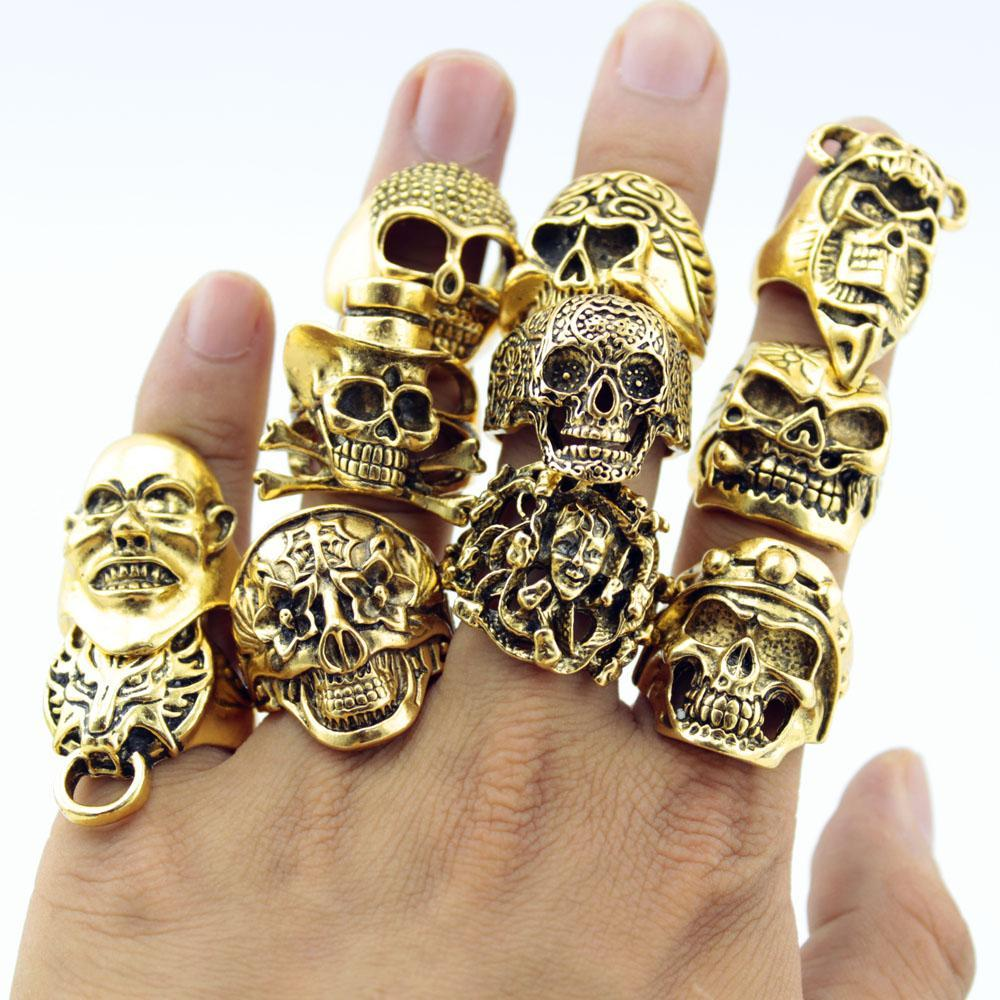 Wholesale- 12 Piece/lot Wholesale Mix Big In Jewelry Gold Plate Top Quality Bohemian Statement Punk Ring for Men Free Shipping
