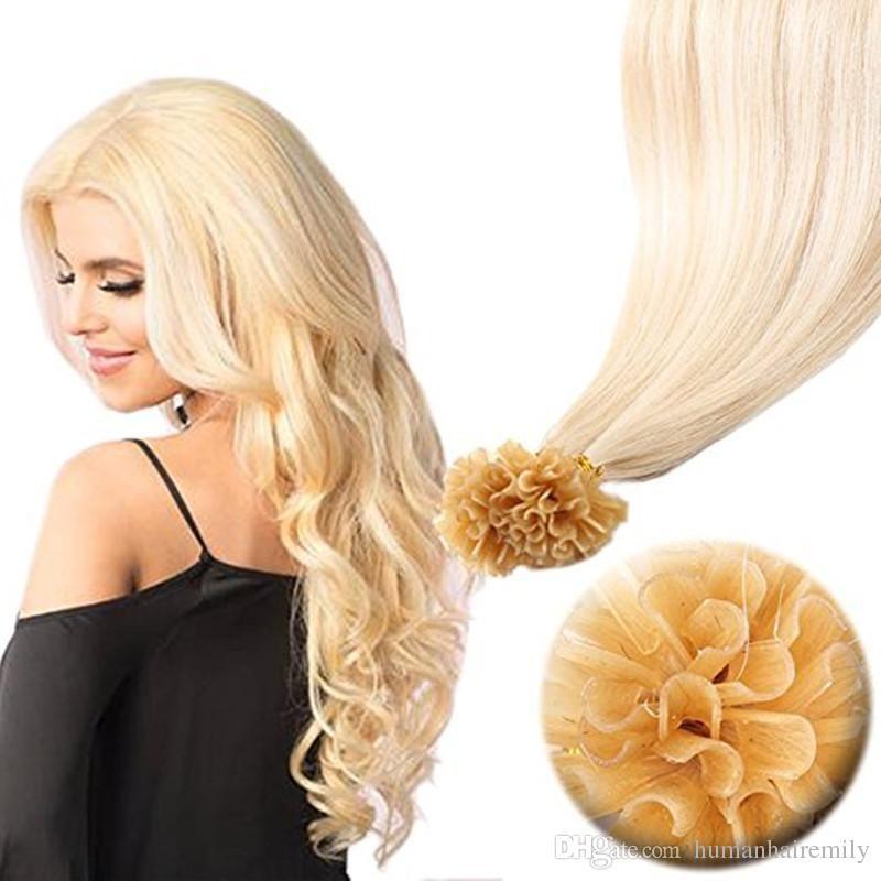 Top qualidade preço por atacado Fctory 100% ponta cabelo humano virgem artificial unha cor 613 extensões de cabelo brasileiros