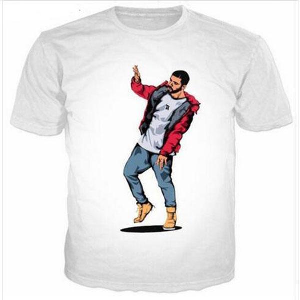 Летний стиль Мужчины Женщины моды с коротким рукавом Drake Смешные футболки 3D-Печать Повседневный футболки QL038