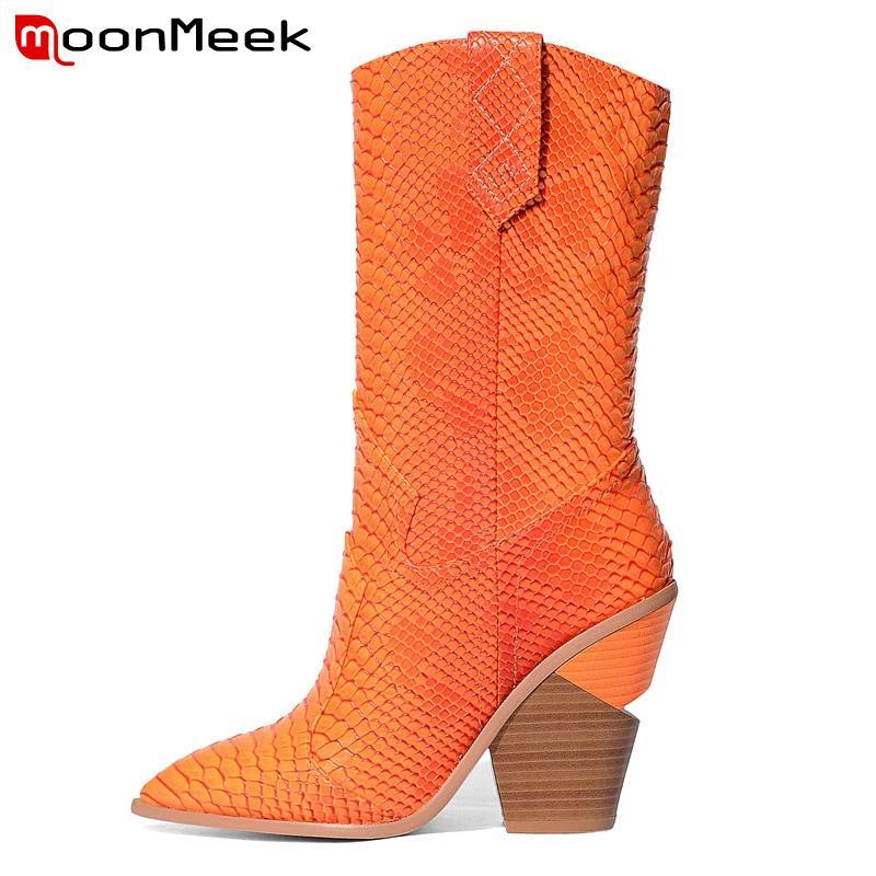 EUR Размер 34-44 Brand 2020 новых женщин сапоги зима Остроконечные Toe Высокий каблук дамы снег сапоги Мода Короткие Western Mid Calf Boots LY191224