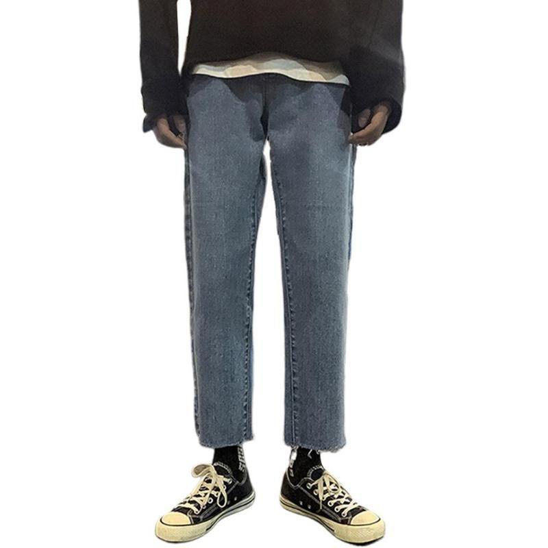 MISSKY nuovi uomini pantaloni lunghi dei jeans denim dei pantaloni di colore solido vita bassa inferiore diritto casuale allentata pantaloni maschili