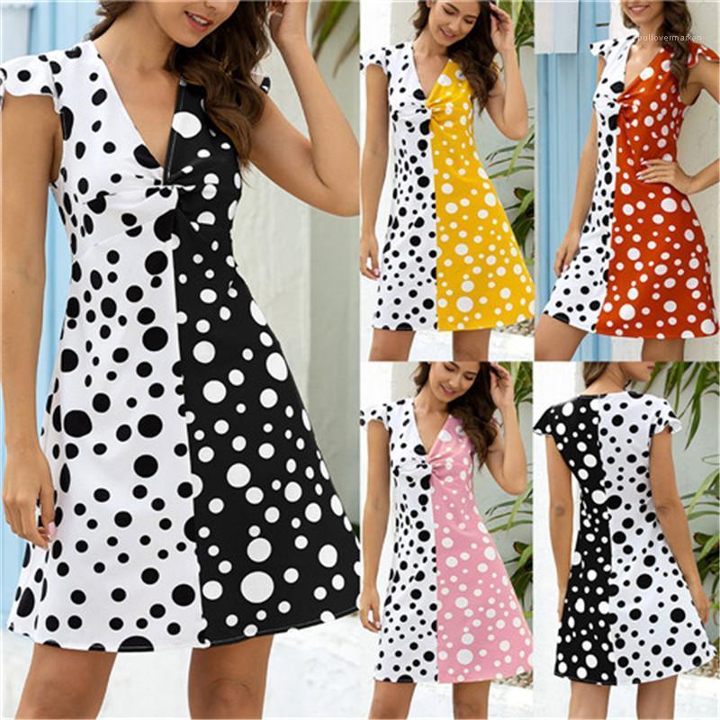 Robes Casual Polka Dot Imprimé lambrissé Hit couleur manches courtes sexy Robes urbain de loisirs Designer Les femmes Vêtements d'été Femmes