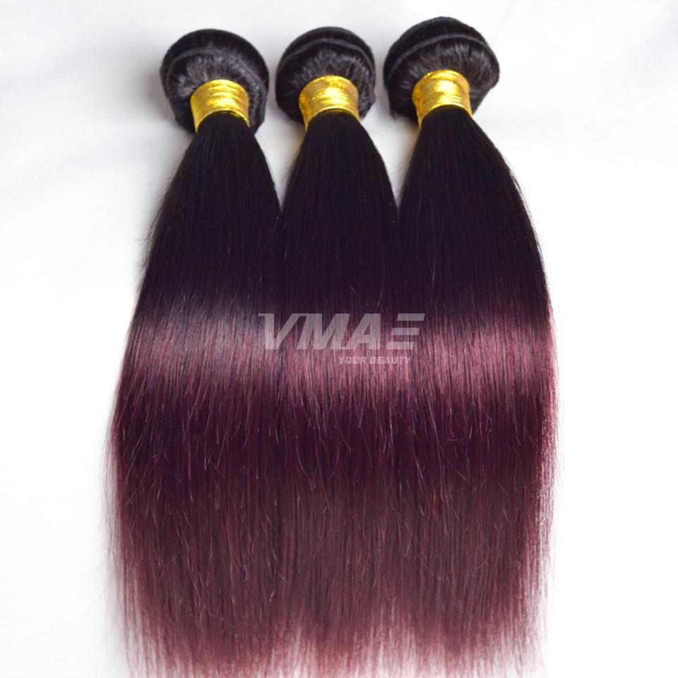 VMAE Ombre Color Malaysian Remy Virgin Human Hair Weft 1B 99J Burgundy 3 Bundles Silky Straight Hair Extension Weaves Two Tone Natural Soft