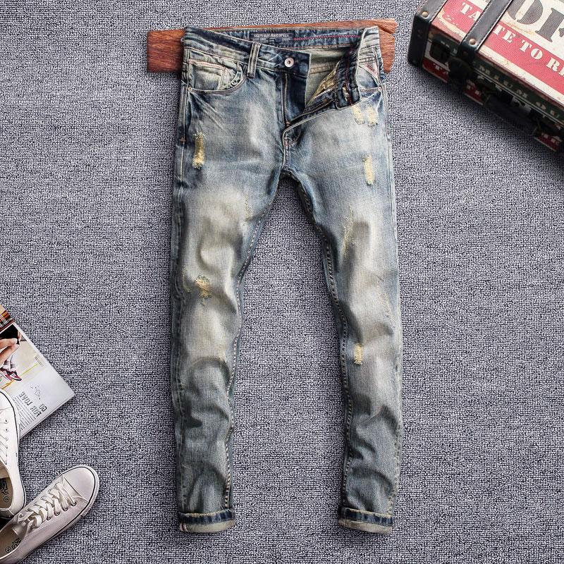 İtalyan Stili Moda Erkek Jeans Retro Renk Yüksek Kalite Slim Fit Jeans Men Streetwear Vintage Tasarımcı Homme Ripped
