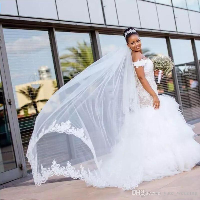 Africano Nigeria Abiti da sposa spalle spalla appliques gonne a file ruffles sweep treno 2019 moda formale plus size abiti da sposa