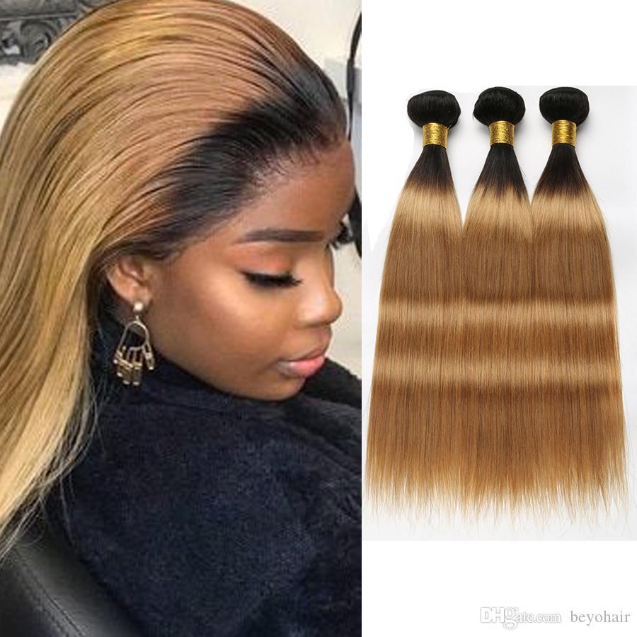 Ombre Human Hair Bundles Straight Hair Bundles Brazilian Virgin Hair Bundles Remy Two Tone 1b/27 Honey BlondeColor 10 A Grade Beyo