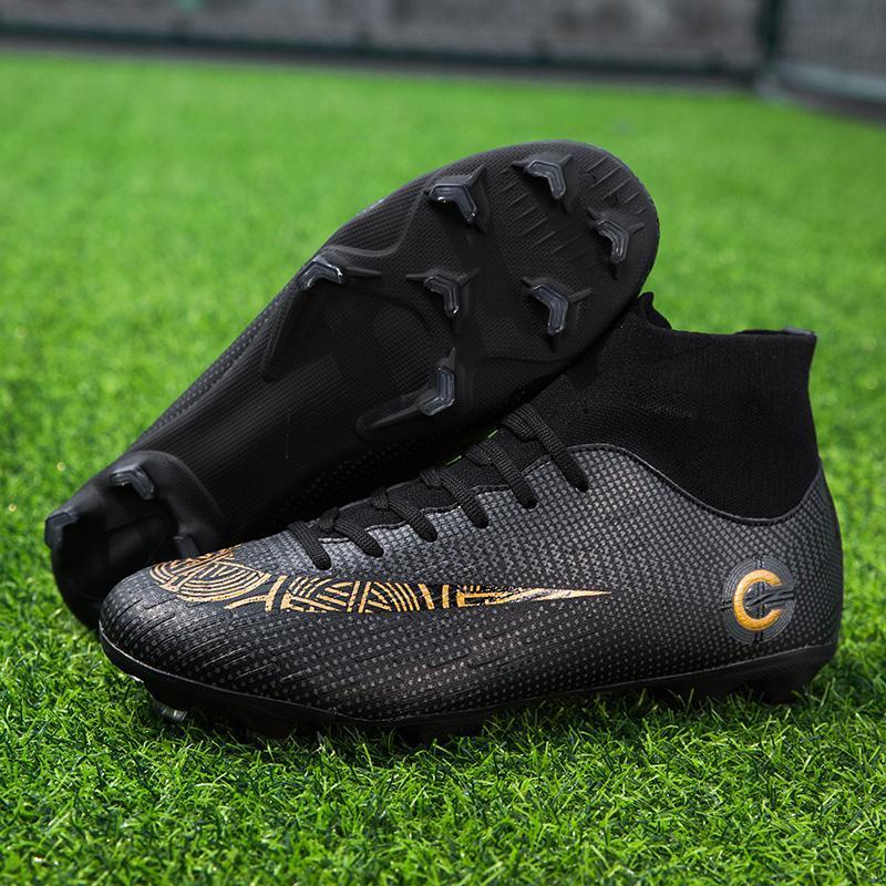 Erkekler Yetişkin Çocuklar için Futbol Ayakkabı Uzun Dikenler Yüksek Üst Bilek Futbol Ayakkabı Çizme Açık Athletic Eğitim Çorap Kramponlar