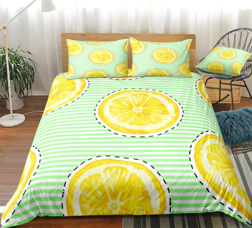 Lemons Duevt Cover Set Fruits Bedding Set Golden Bed Linen Striped Lemons Bed Green Stripe Home Textile Golden Bedclothes