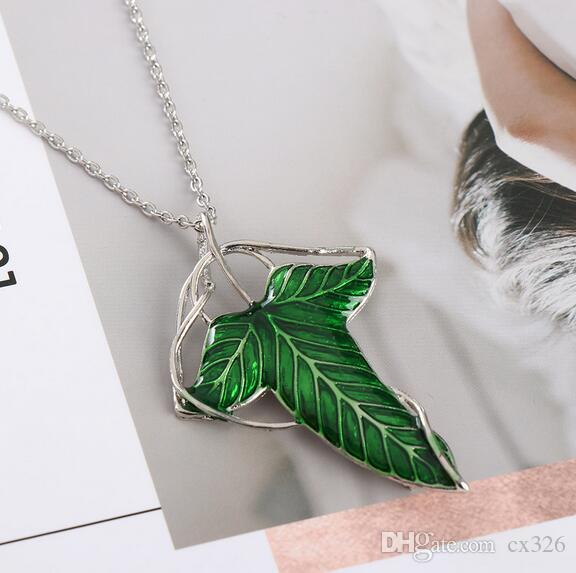 2019 Trendy The Hobbit Vintage Elf Green leaf necklace pendant Pin Lord of the Rings Ne(cklace)wholesale