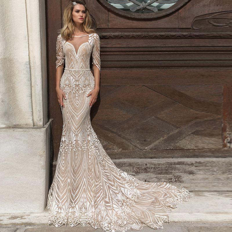 Full Lace Mermaid Wedding Dresses vestido de noiva Sheer Neck Half Sleeve Illusion Backless Bride Dress Wedding Gowns