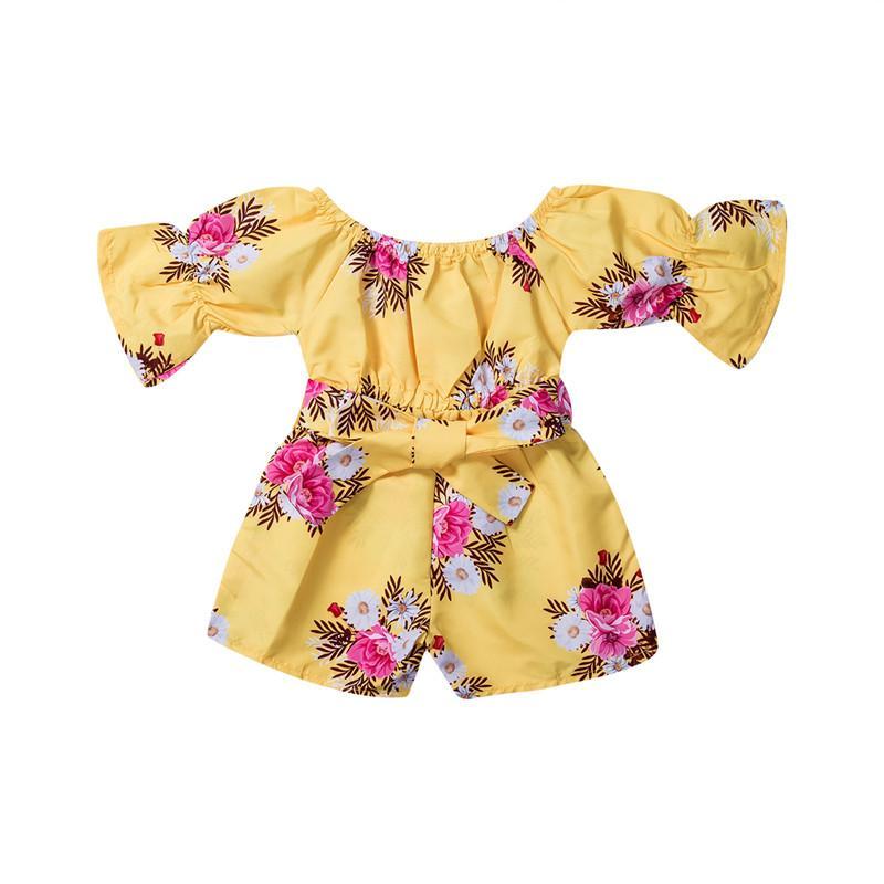 2020 nuovo di estate del bambino infante neonate pagliaccetto vestiti floreali Fiori Stampa manica corta Sashes Giallo tute pagliaccetto