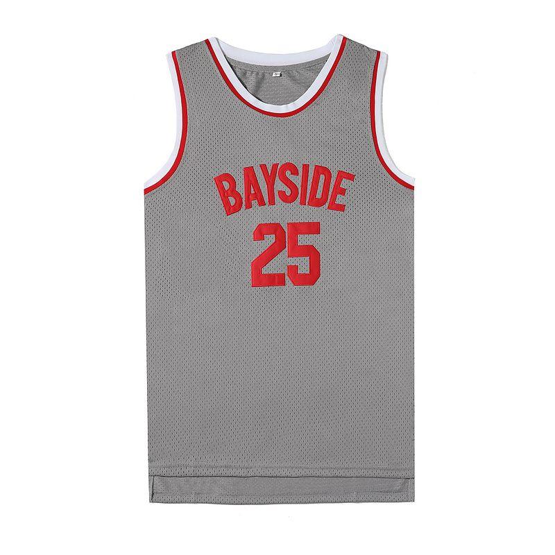 Herren 25 Zack Morris Bayside Basketball Jersey Trikots Graue Farbe Gespeichert von der Glocke 90er Jahre Hip Hop genähte Hemden