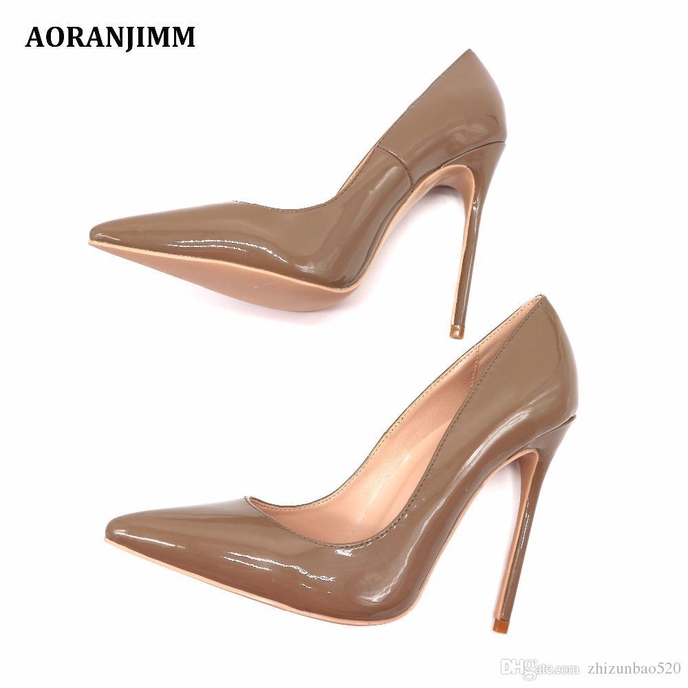 Повседневная дизайнер сексуальная леди мода хаки лакированная кожа острым носом женщины леди 120 мм туфли на высоком каблуке весна Марка насос на продажу
