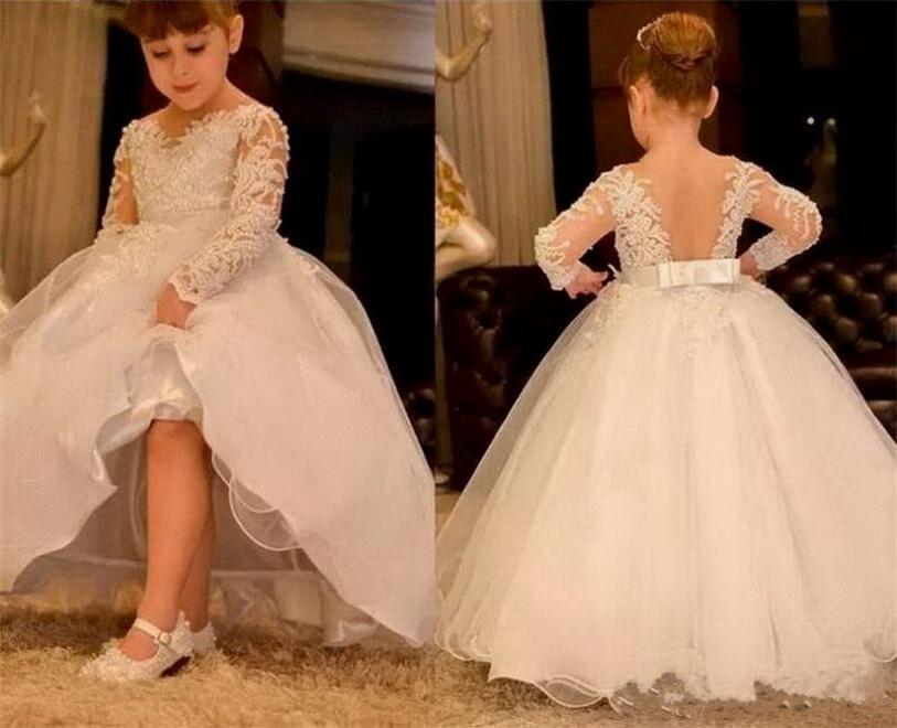 Menina de flor branca Tulle Vestido para casamento do laço apliques Backless Santo Primeira Comunhão Vestidos New Vindo Meninas Vestidos de aniversário