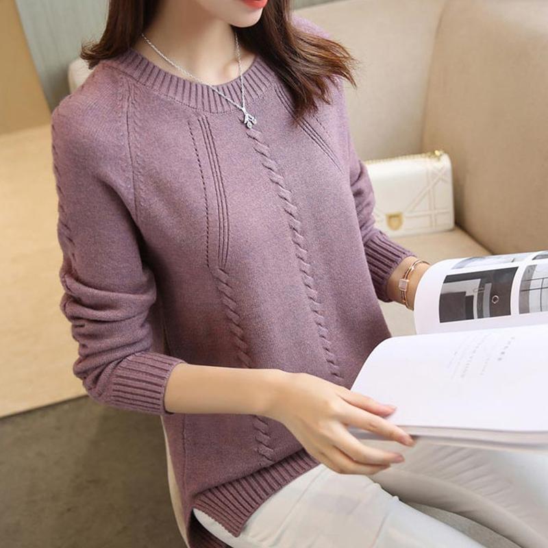 Женщины Корея свободный вязаный свитер Feamle O-образным вырезом с длинным рукавом базовый пуловер Осень Зима дамы перемычка тянуть