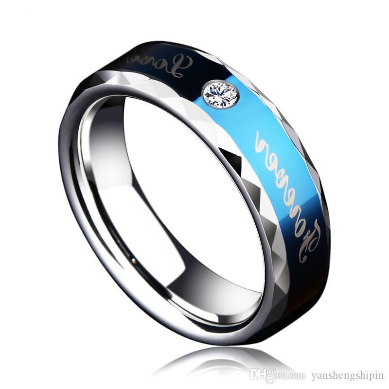 Yeni Varış 6mm Genişlik Mavi Tonları Tungsten Çift Düğün Nişan Band Yüzük Kübik Zirkonya ve Sonsuza Aşk Boyutu 6-13