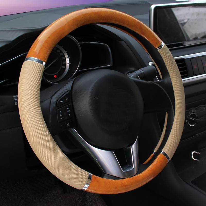 Holzmaserung Innen Schutz Auto Auto Rutschfeste Kunstleder Dekorative Geruchlose Mode Weiche Lenkradabdeckung Zubehör