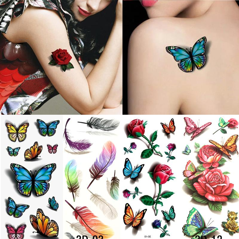 Временные татуировки Наклейка с водой Татуировки для боди-арта Cool 3D Водонепроницаемый Временные татуировки для девочек Цветок